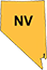 Nevada state outline with yellow fill and nv initials