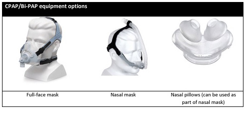 CPAP/Bilevel PAP equipment options
